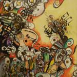 Serena Baretti la musica del caos 50cm x 70 cm tecnica mista su carta anno 2009