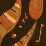 Serena Baretti l'universo musicale 2   83 cm x30 cm tecnica mista su tavola