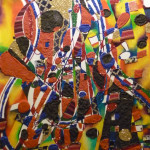 Serena Baretti suoni e passione 60 cm x80 cm tecnica mista su tela anno 2009