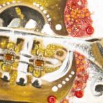 ''la tromba'' tecnica mista su compensato anno2013 70x23cm